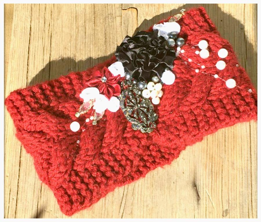 JUNK GYPSY HEADBAND Vintage Jewelry & Pearls Flowers Burgundy Knit Headband