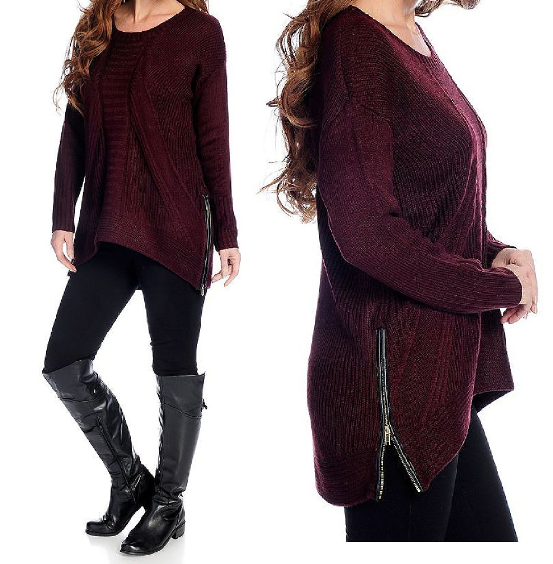 K&M SWEATER Black Faux Leather Zip Sides on Burgundy Knit Sweater
