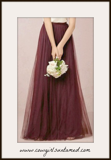 COWGIRL GLAM SKIRT Burgundy Tulle Layered Long Maxi Skirt