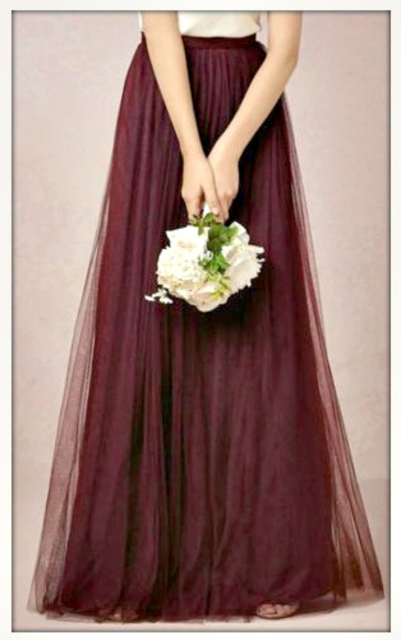 TOUCH OF GLAM SKIRT Burgundy Tulle Layered Long Maxi Skirt