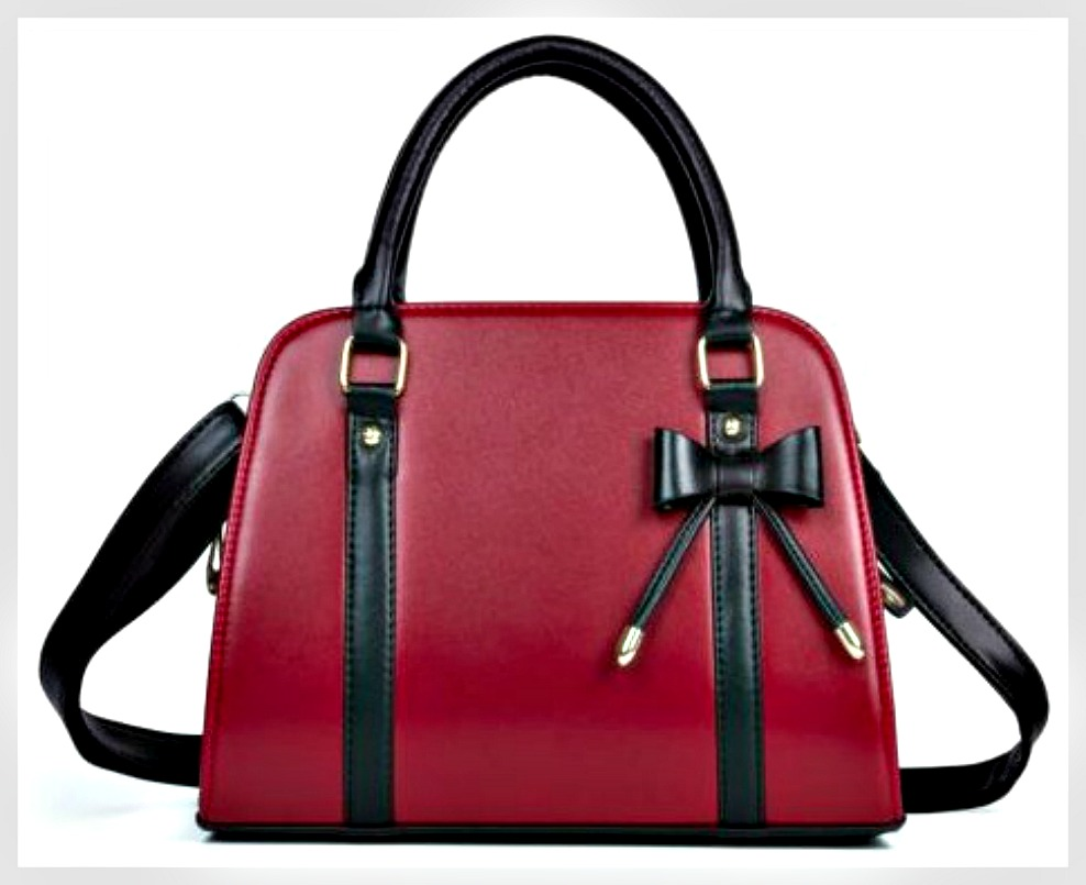 TOUCH OF GLAM HANDBAG Burgundy Red with Black Bow Medium Handbag