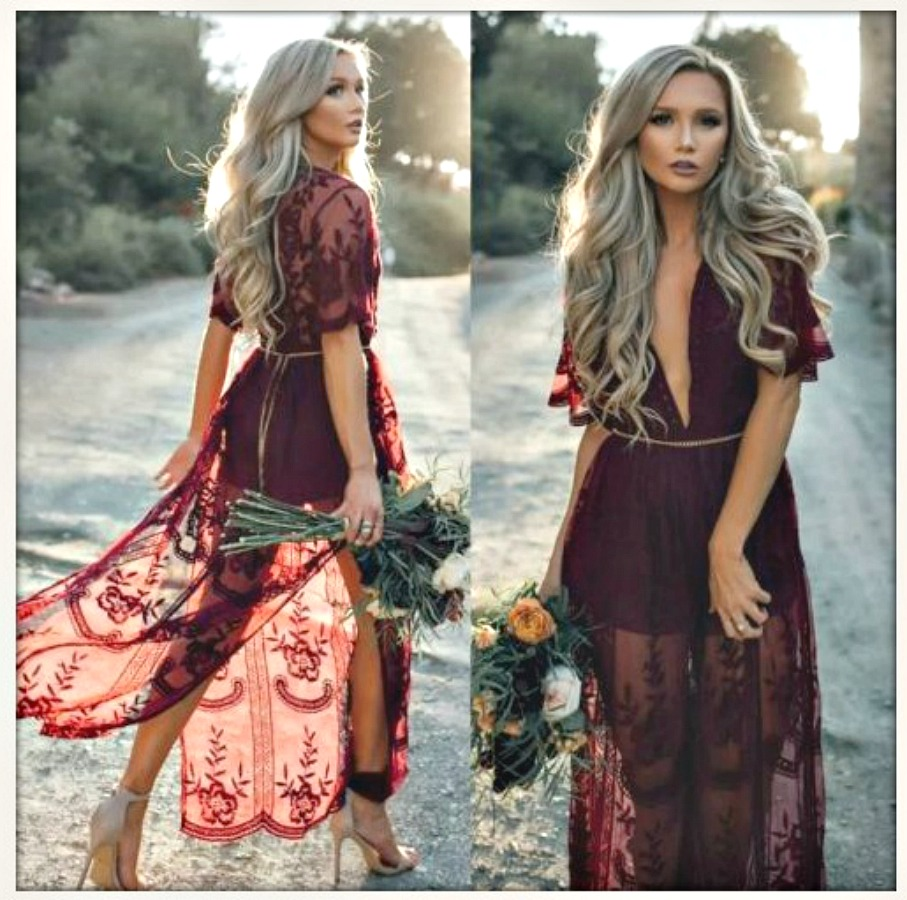 BOHEMIAN COWGIRL DRESS Burgundy Red Lace Sheer Boho Maxi Dress