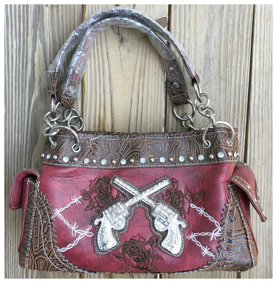 COWGIRL OUTLAW HANDBAG Silver Crystal Sixshooter & Embroidered Roses N' Barbed Wire Western Handbag LAST ONE! Western Handbag