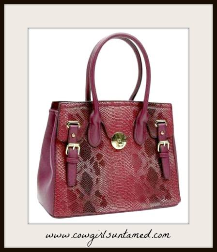 TOUCH OF GLAM HANDBAG Shades of Burgundy & Red Snake Print Handbag