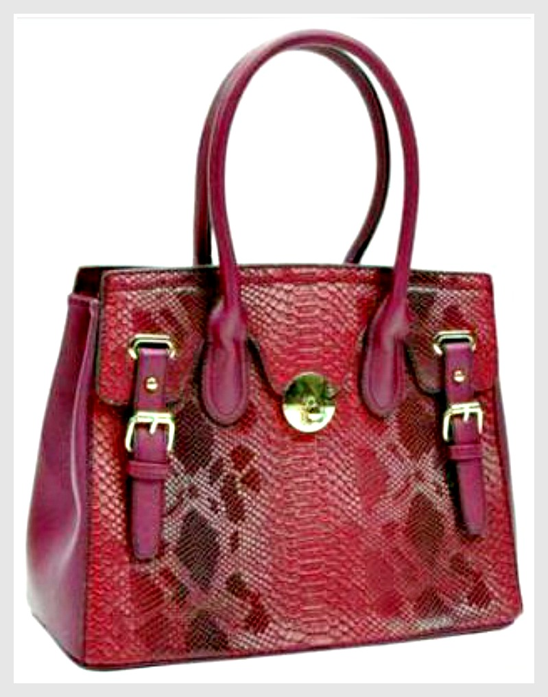 TOUCH OF GLAM HANDBAG Shades of Burgundy & Red Snake Print Handbag