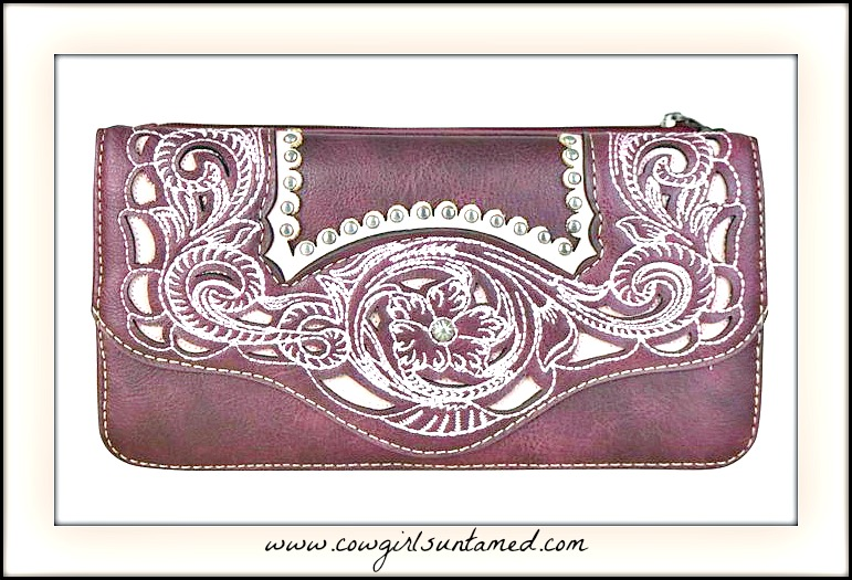 COWGIRL STYLE WALLET Floral Embroidery & Inlay Burgundy Wallet