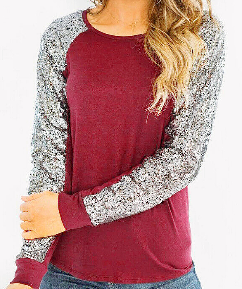 THE TAYLOR TOP Silver Sequin Long Sleeve Burgundy Casual Womens Shirt Top