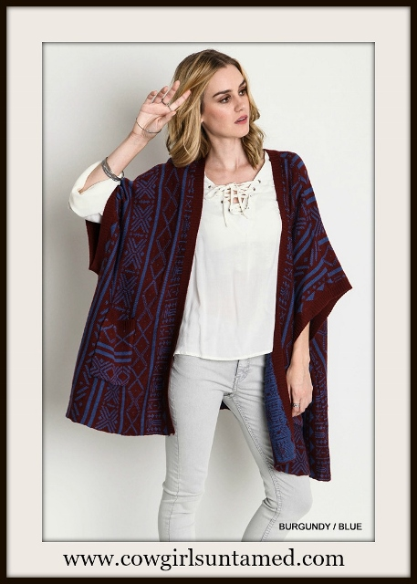 BOHEMIAN COWGIRL CARDIGAN Aztec Burgundy and Blue Oversized Open Boho Cardigan
