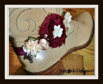 WILDFLOWER BOOT GARTER Burgundy Chiffon, Cream Silk and Burlap Flowers with Pearls & Crystals and Antique Silver Horse Charm Boot Cuff