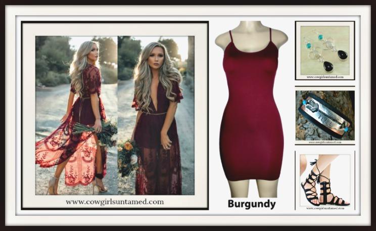 5fc987308ef7 Burgundy Red Deep V Lace Sheer Boho Side Slit Short Sleeve Maxi Dress ...