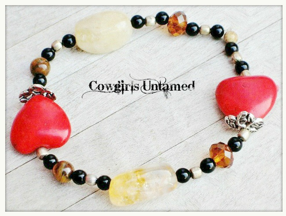 COWGIRL GYPSY BRACELET Victorian Antique Silver Red Turquoise Heart Gemstone Stretch Bracelet