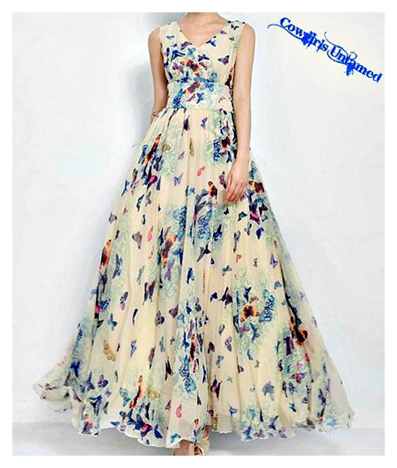 COWGIRL GYPSY DRESS Butterfly Floral Empire Waist Chiffon Sleeveless Lace Up Sides Long Dress