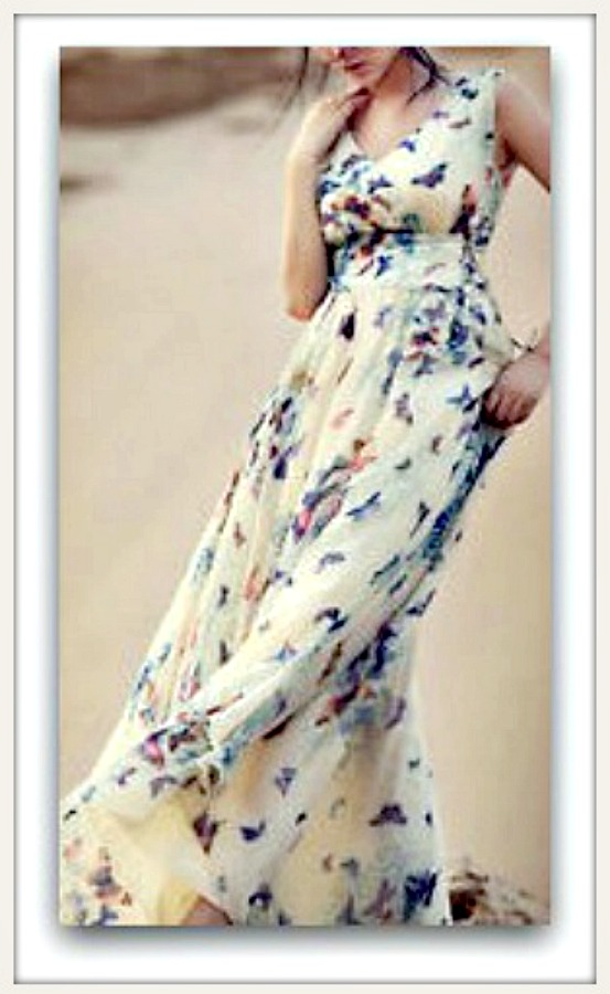 COWGIRL GYPSY DRESS Butterfly Floral Empire Waist Chiffon Sleeveless Lace Up Sides Long Dress LAST ONE - L/XL