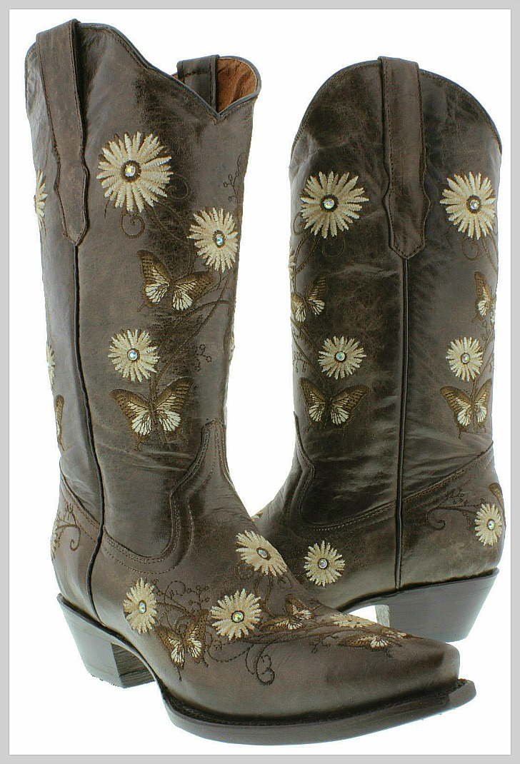 THE BUTTERFLY BOOT Crystal Studded Floral & Butterfly Embroidered Brown Genuine Leather Cowgirl Boots SIZES 5-11