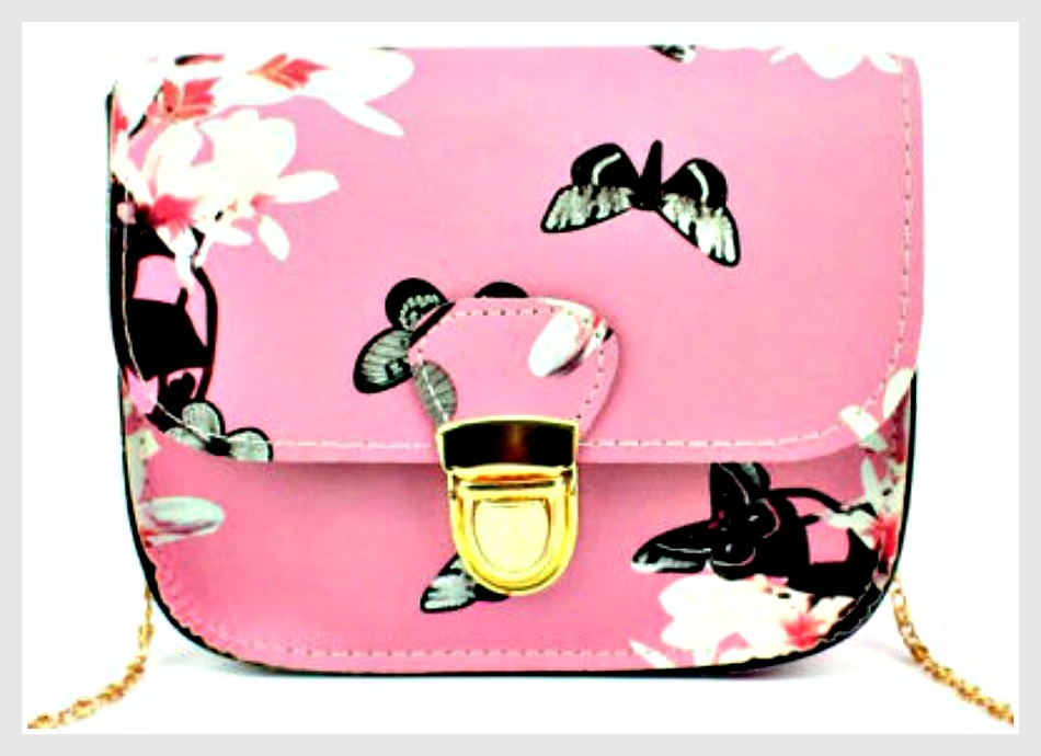 TOUCH OF GLAM PURSE Pink Butterfly & Floral Small Crossbody Gold Chain Purse