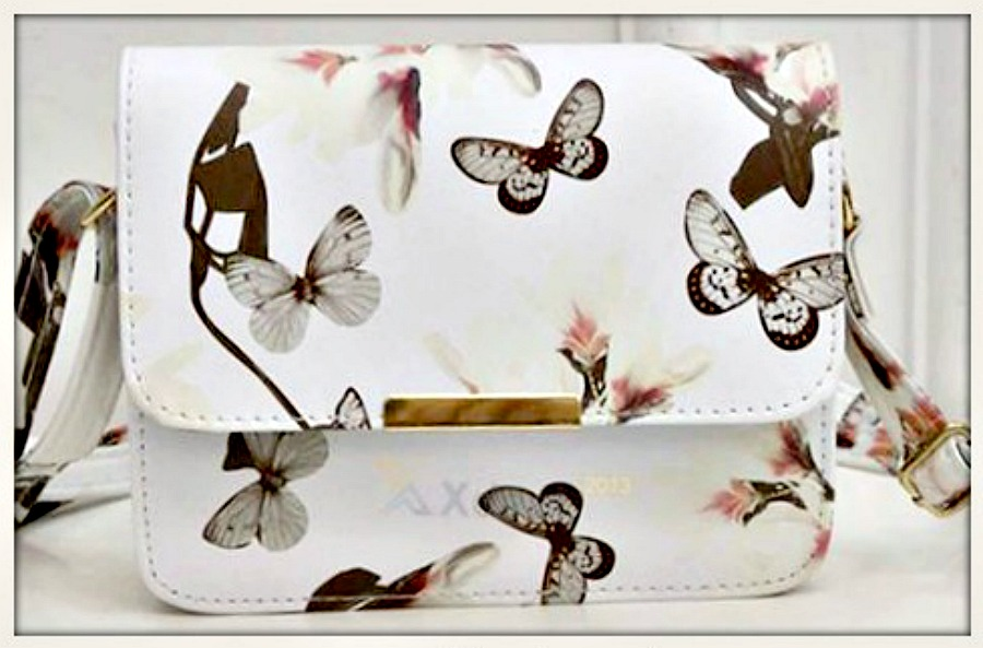TOUCH OF GLAM PURSE White Butterfly & Floral Small Crossbody Purse