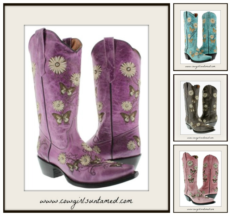 COWGIRL GYPSY BOOTS Rhinestone Embroidered Flower & Butterfly GENUINE LEATHER Boots 4 STYLES