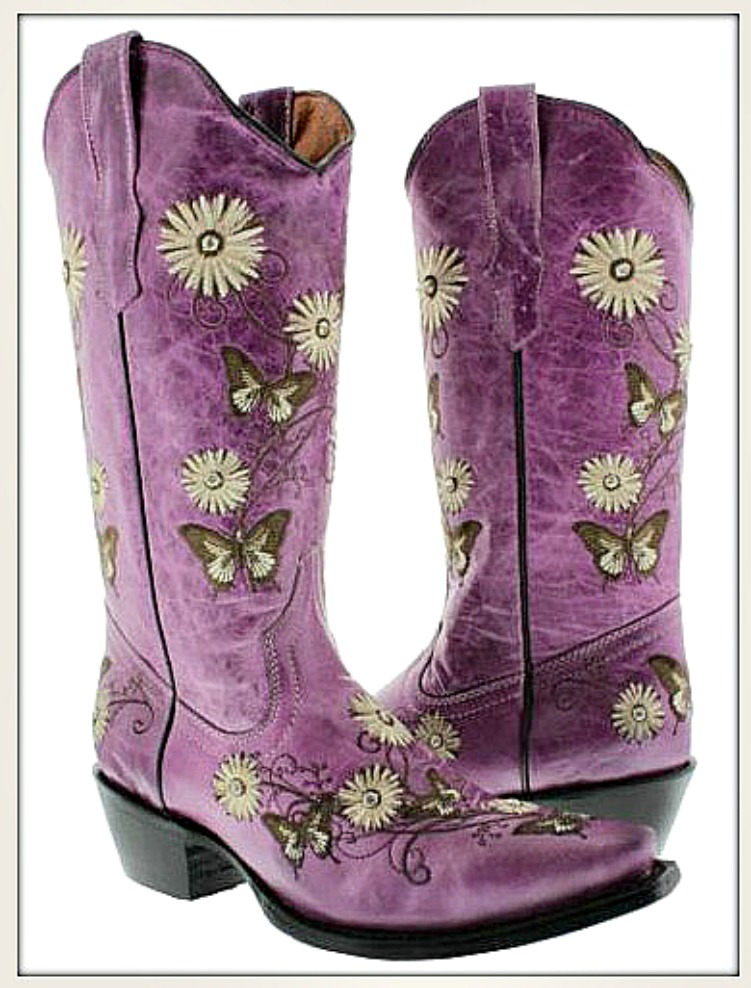 COWGIRL GYPSY BOOTS Rhinestone Embroidered Flower & Butterfly Purple GENUINE LEATHER Boots  Sizes 5-11