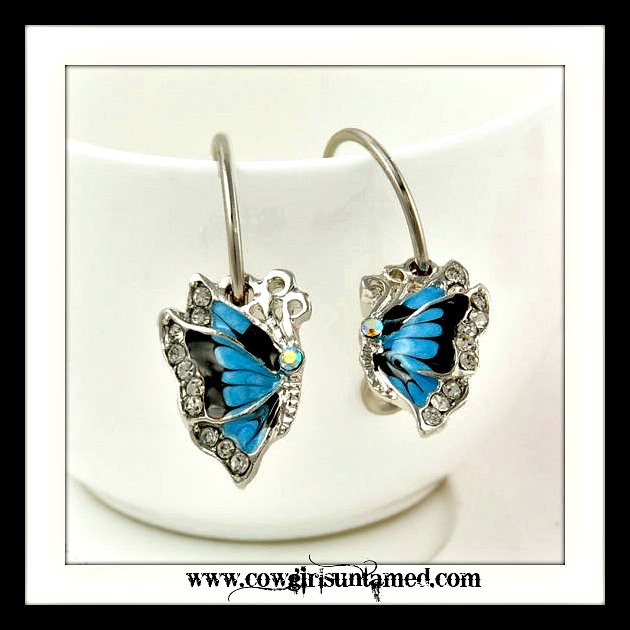 COWGIRL GYPSY EARRINGS Crystal Rhinestone Enamel Butterfly