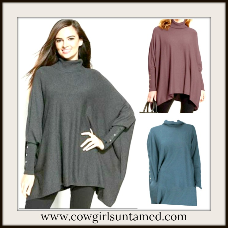 COWGIRL GYPSY SWEATER Button Sleeve Oversized Turtleneck Designer Poncho Sweater