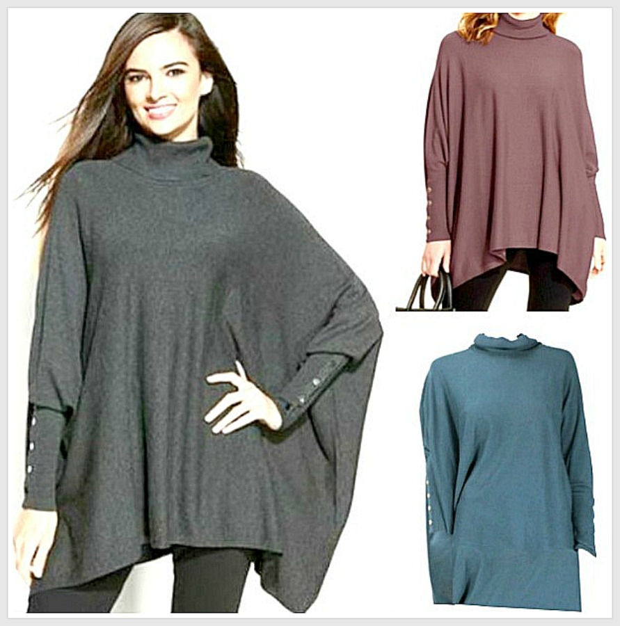 COWGIRL GYPSY SWEATER Button Sleeve Oversized Turtleneck Designer Poncho Sweater A FEW LEFT S or XL