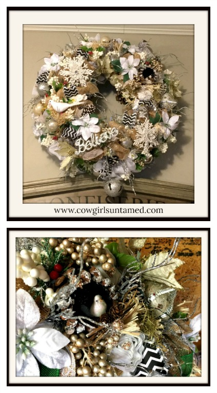 "CHRISTMAS WREATH ""Believe"" Bejeweled and Heavily Embellished White and Silver Christmas Wreath"