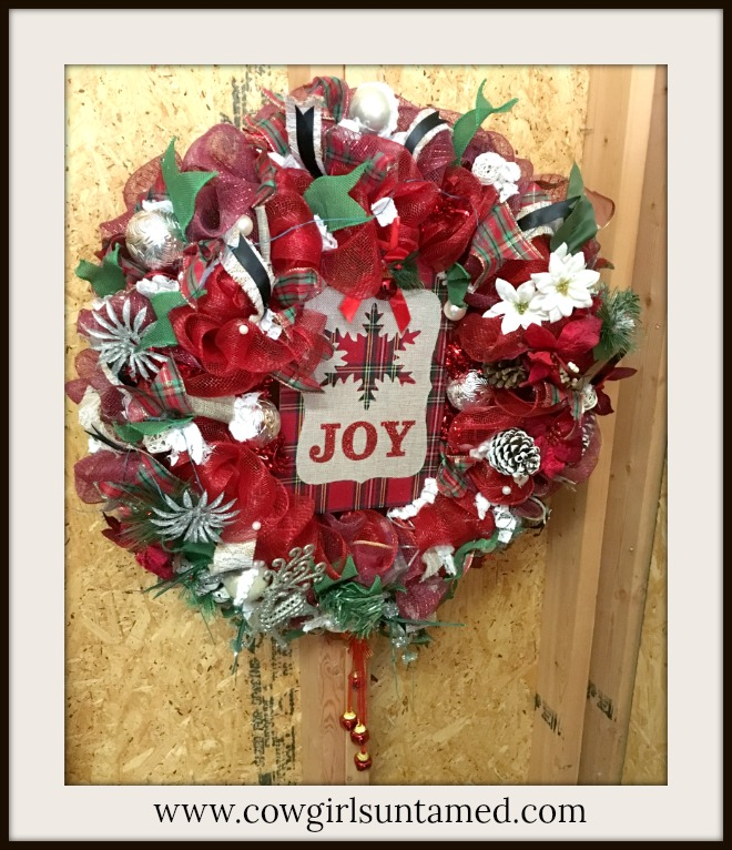 "CHRISTMAS WREATH ""JOY"" Red & Green Plaid Snowflake Glitter Deer Lace Ribbon Christmas Wreath with Battery Lights"