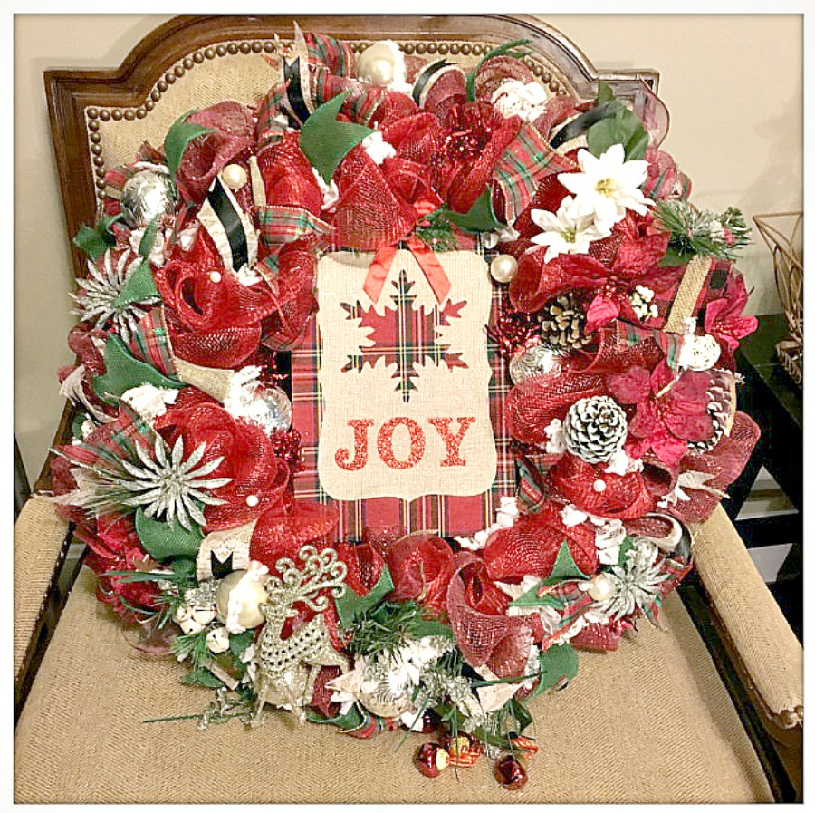 """CHRISTMAS WREATH """"JOY"""" Red & Green Plaid Snowflake Glitter Deer Lace Ribbon Christmas Wreath with Battery Lights"""