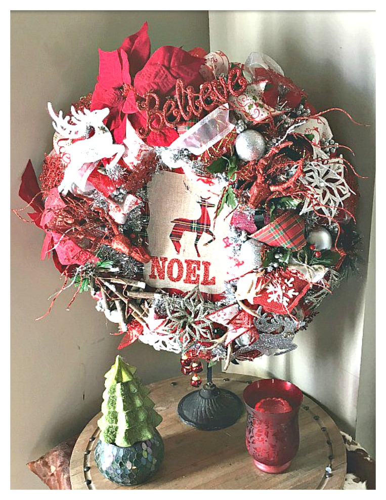 """CHRISTMAS WREATH """"NOEL"""" Red & Green Plaid Deer Burlap Sign """"Believe"""" Glitter Deer Lace Ribbon Christmas Wreath with Battery Lights"""