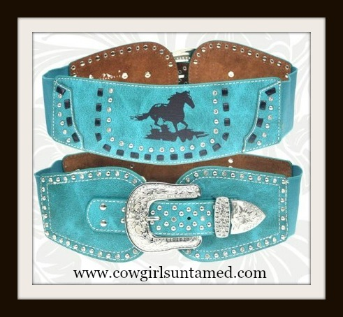 HORSE LOVIN' COWGIRL BELT Galloping Horse Rhinestone Studded with Crytal Antique Silver Buckle Wide Stretchy Turquoise Leather Belt