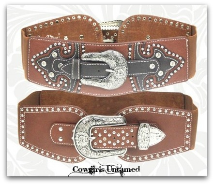 COWGIRL STYLE BELT Rhinestone Studded with Antique Silver Floral Etched Buckle Stretchy WIDE Western Belt