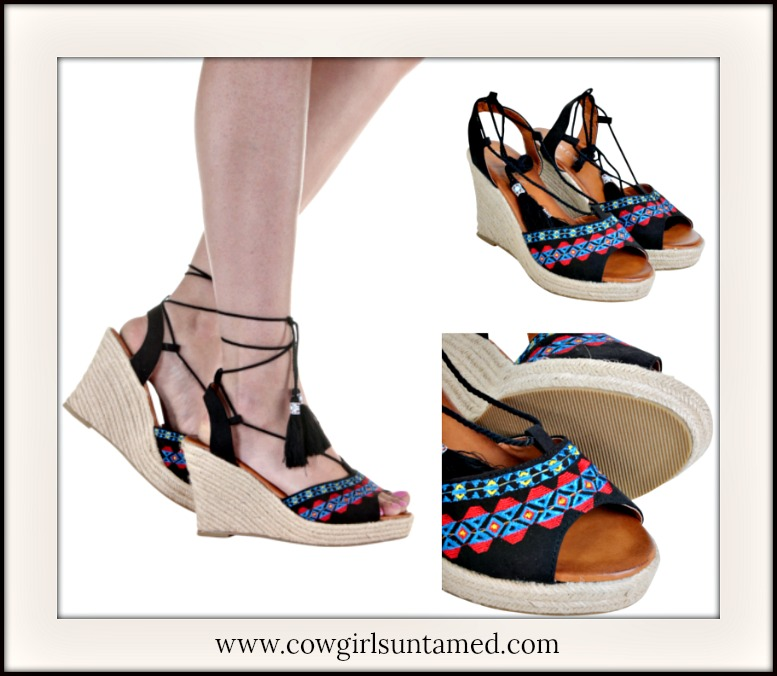 8fd8b184918 Red and Blue Embroidery Open Toe Ankle Wrap Black Espadrille Wedge ...