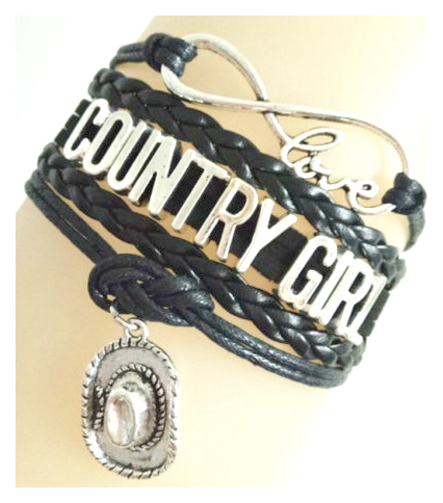 """COUNTRY COWGIRL BRACELET Multi Strand Leather with Silver """"COUNTRY GIRL"""" & Cowgirl Hat & Charm Bracelet"""