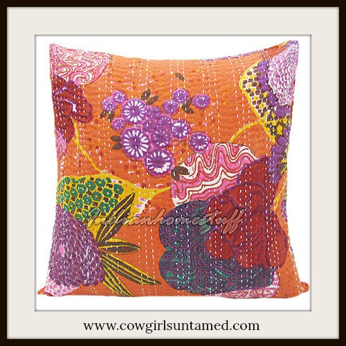 BOHEMIAN HOME DECOR Pillow Multi Color Floral Stitched ORANGE Kantha Pillow Cover