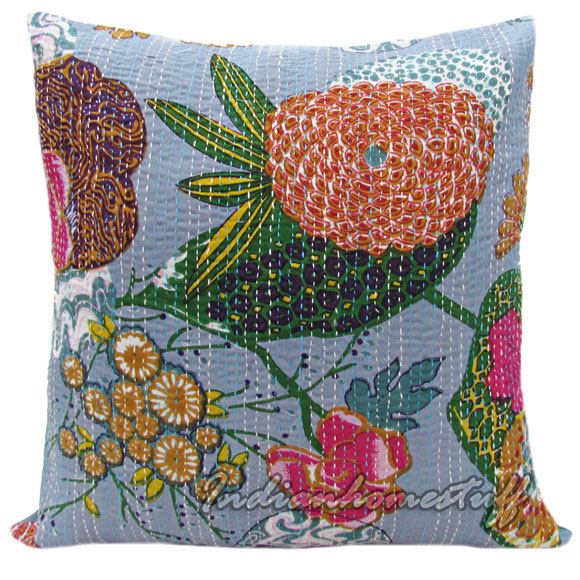 BOHEMIAN HOME DECOR Pillow Multi Color Floral Stitched GREY Kantha Pillow Cover