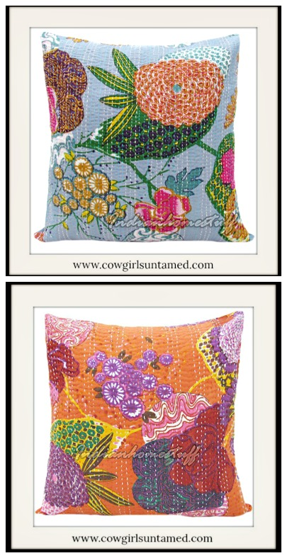 BOHEMIAN HOME DECOR Pillow Multi Color Floral Kantha Pillow Cover  2 COLORS!