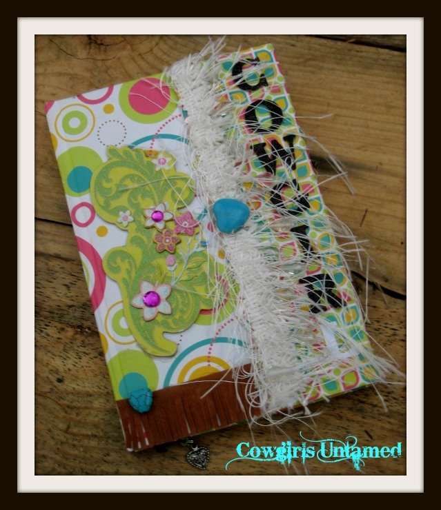 "COWGIRL STYLE JOURNAL ""Cowgirl"" Multi Color Design with Crystal Tassels & Turquoise Bead Lined Journal"
