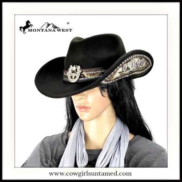 "COWGIRL STYLE HAT ""COWGIRL"" Rhinestone Studded & Horseshoe Black Fur Felt Hat"