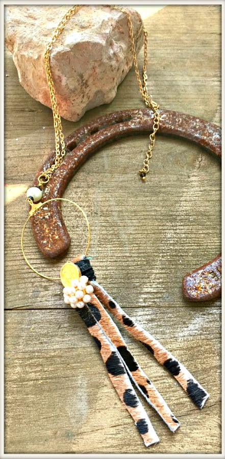 COWGIRL GYPSY NECKLACE Leopard Leather Tassel Gold Pearl Pendant Necklace