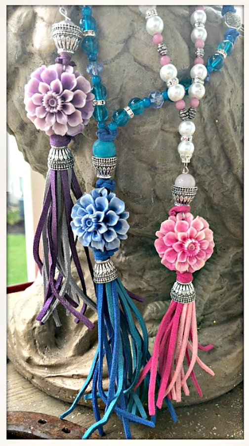BOHEMIAN COWGIRL NECKLACE Shell Flower Leather Tassel Beaded Silver Necklace 3 COLORS!