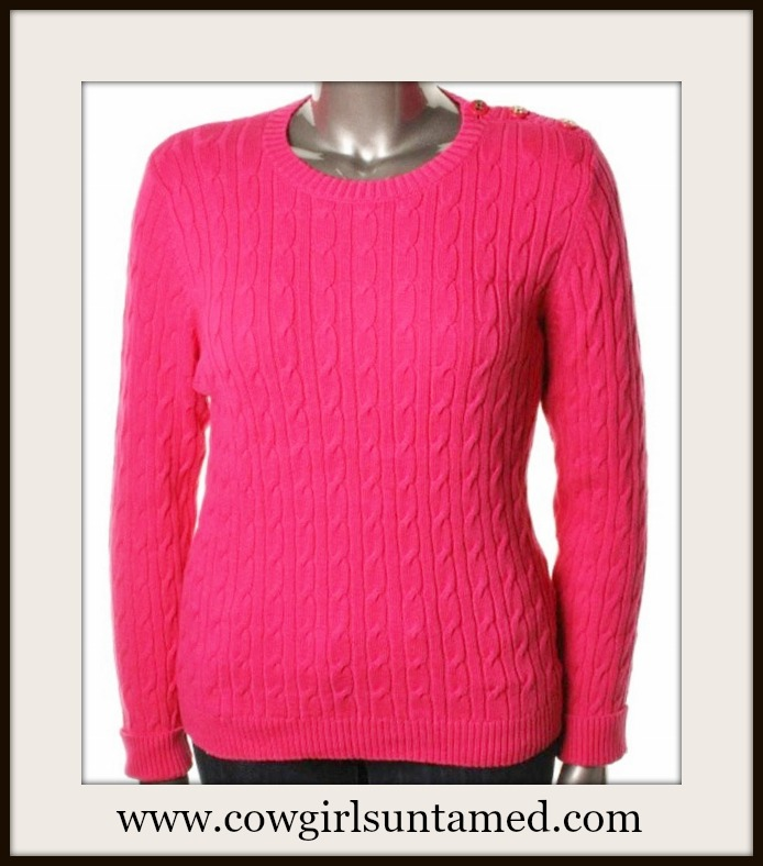 DESIGNER SWEATER Hot Pink Cable Knit Crew Neck Pullover Designer Sweater