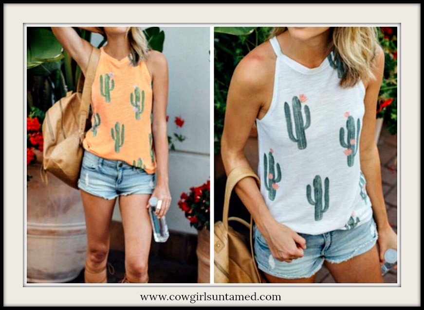 COWGIRL STYLE TOP Green Cactus Pink Flower High Neck Top  2 COLORS