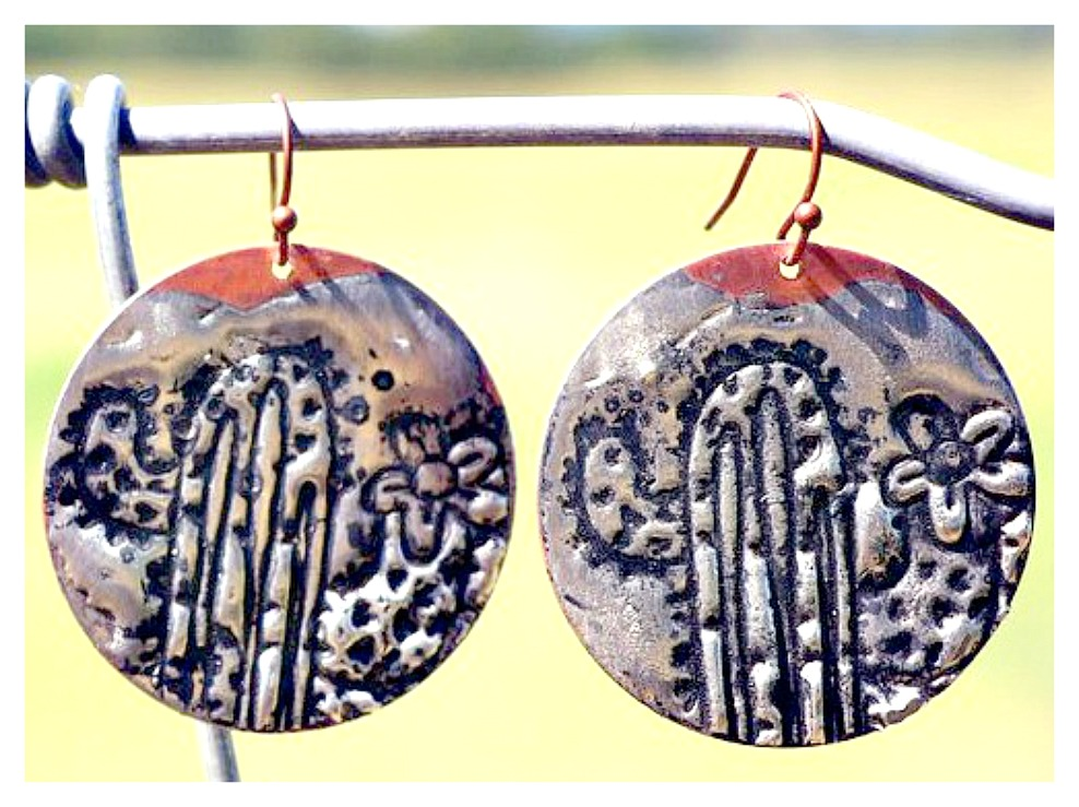 COWGIRL STYLE EARRINGS Silver Soldered Cactus Antique Copper Earrings