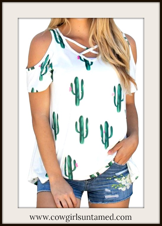 COWGIRL STYLE TOP Green & Pink Cactus Criss Cross Neckline Cold Shoulder Tee