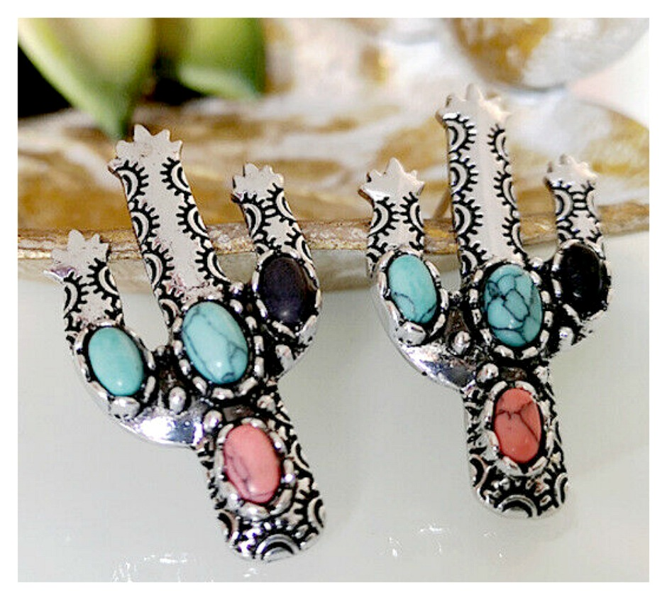 THE CACTUS EARRINGS Turquoise Pink Coral Silver 925SS Cactus Earrings