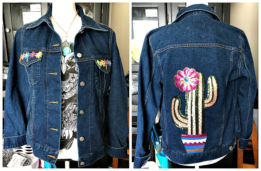 THE CACTUS JACKET Custom Large Sequin Floral Cactus Back Embroidered Floral Pocket Jean jacket