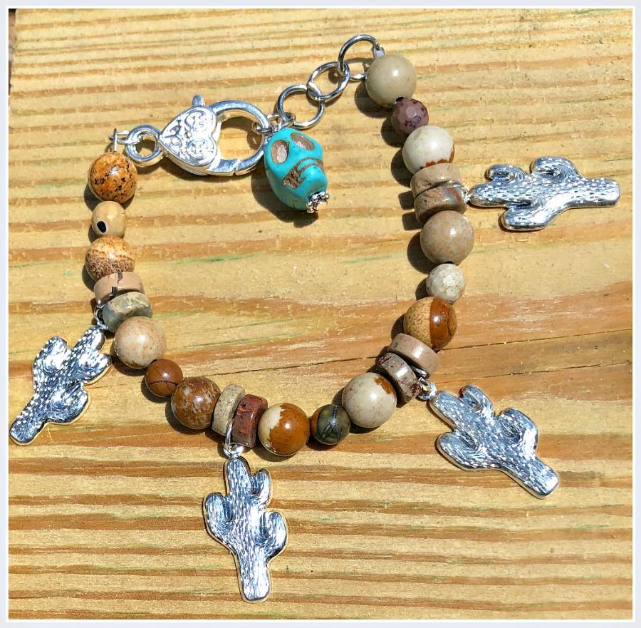 THE CACTI BRACELET Handmade Brown Jasper Gemstone 925SS Cactus Turquoise Skull Charm Western Silver Bracelet