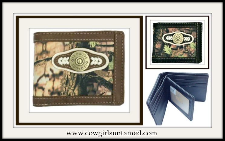 COWBOY STYLE WALLET Mens Brown Short Camo 12 Gauge Bullet Mossy Wallet