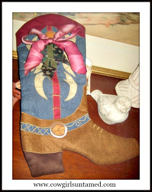 COWGIRL CHRISTMAS STOCKING Camo Green N Ombre Burgundy Bow on Blue Denim N Brown Felt Western Boot Christmas Stocking