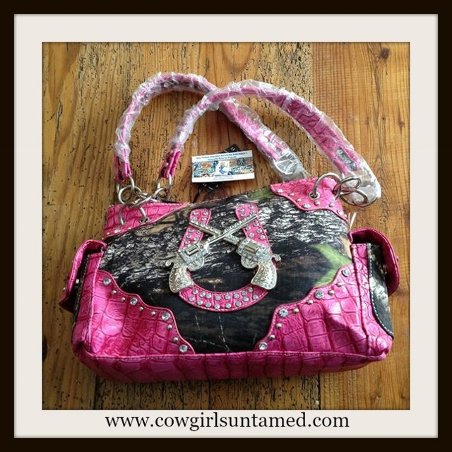 CAMO COWGIRL HANDBAG Camo Canvas Pink Leather Rhinestone Silver Studded Western Handbag